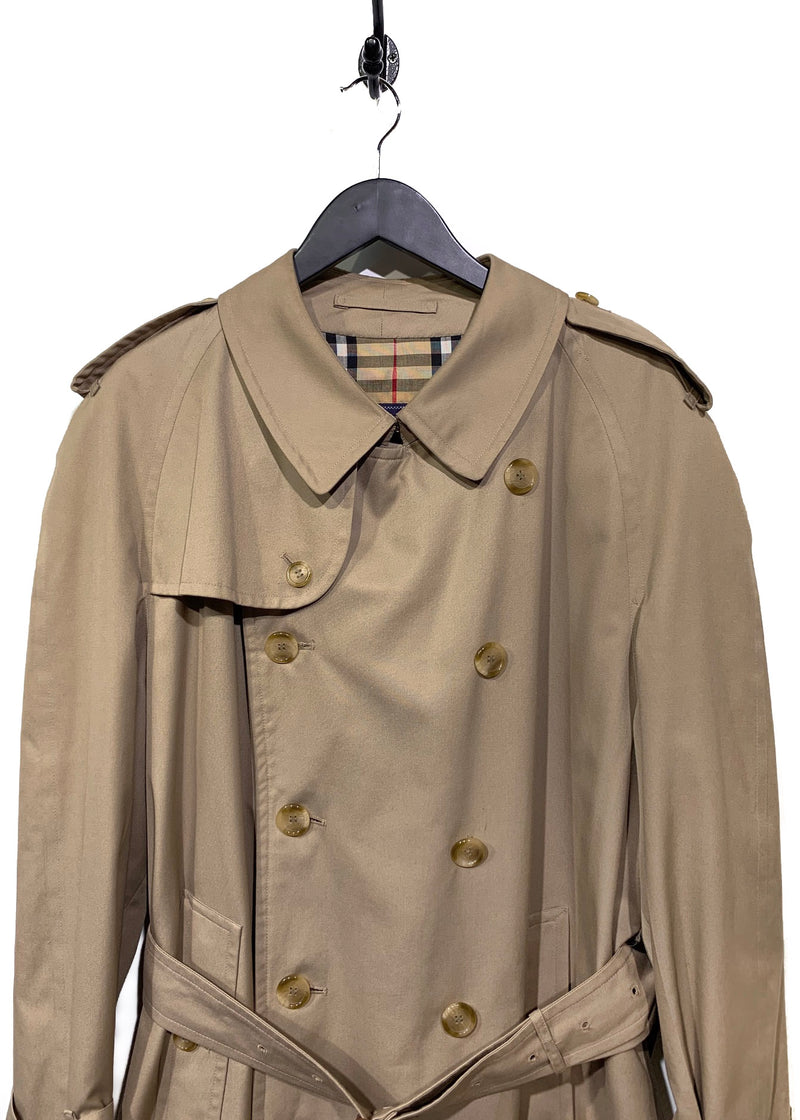 Burberry Vintage Beige Double Breasted Long Trench Coat