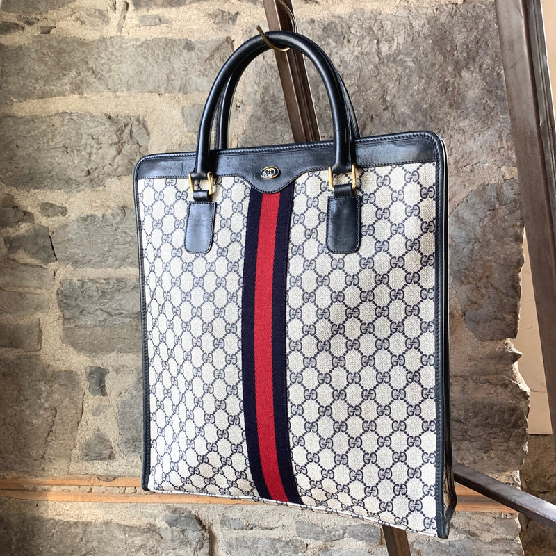 Gucci Vintage Navy Ophidia GG Monogram Web Tote Bag