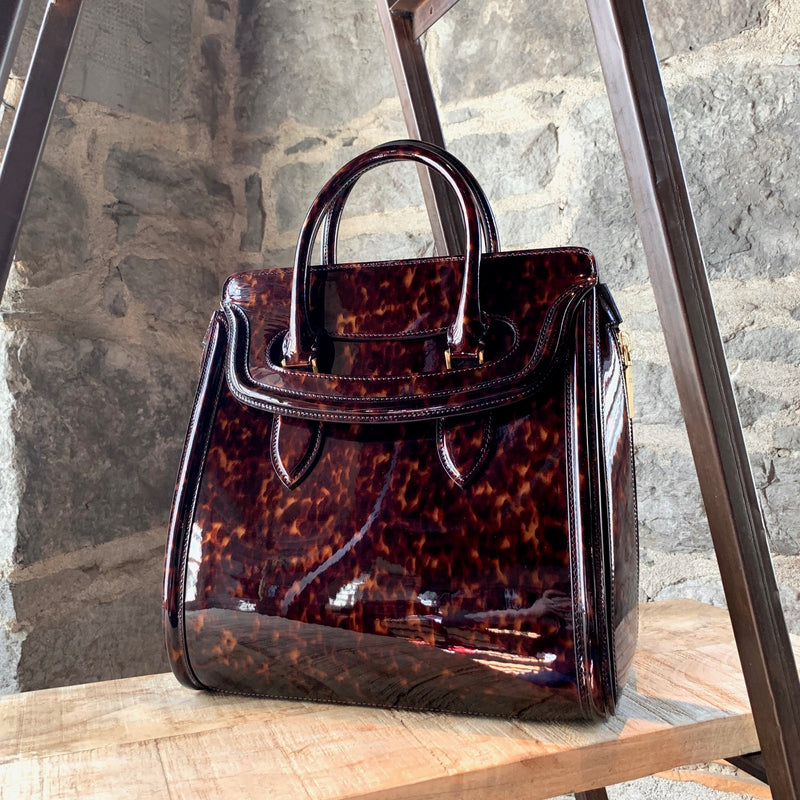 Alexander McQueen Brown Tortoiseshell Patent Leather Medium Heroine Handbag