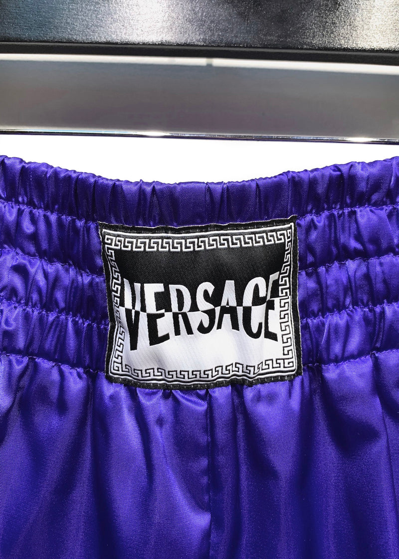 Versace Blue Satin Boxing Shorts