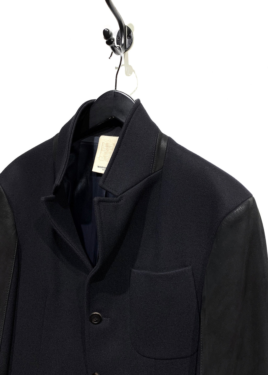 Wooyoungmi Navy Wool Blazer Jacket with Black Leather Sleeves