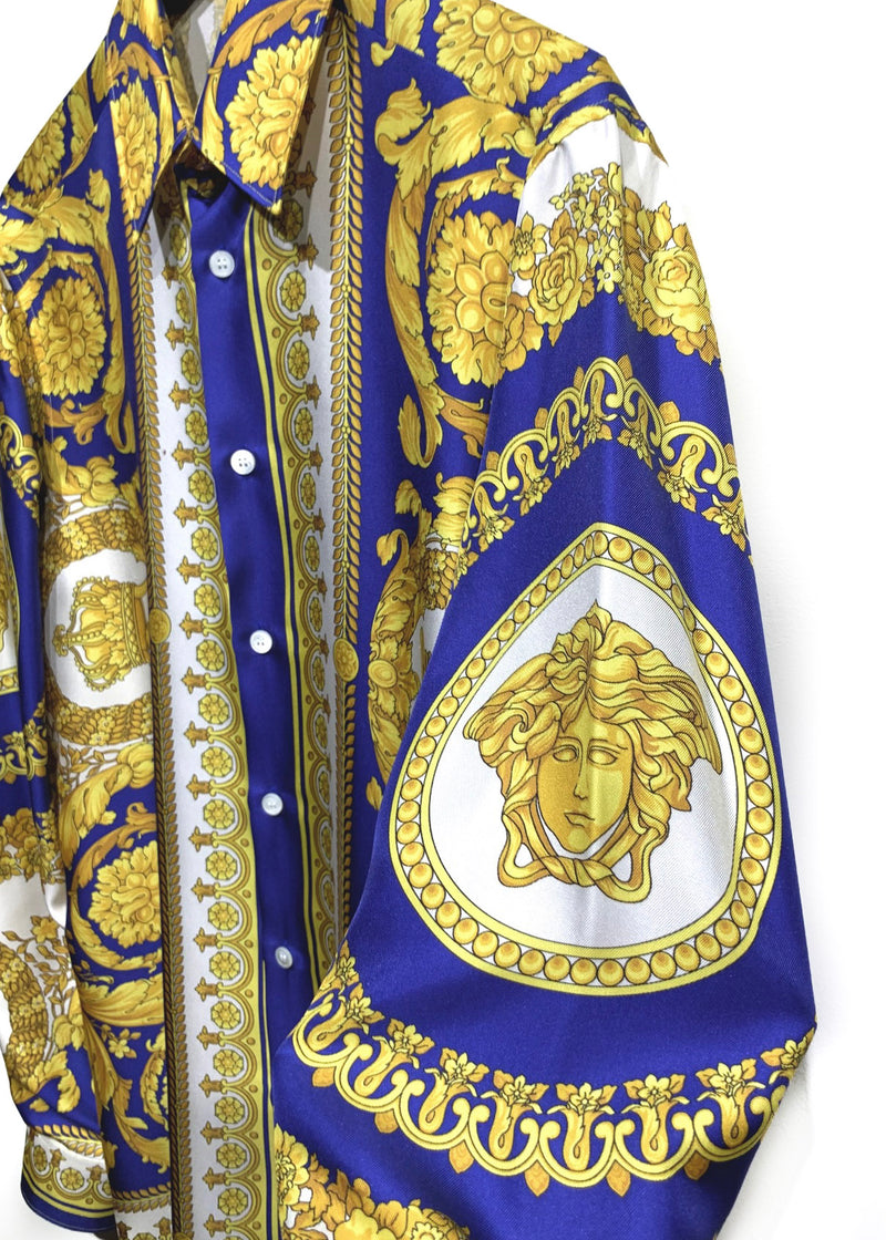 Versace FW 2019 Blue Gold Medusa Barocco Silk Button Shirt