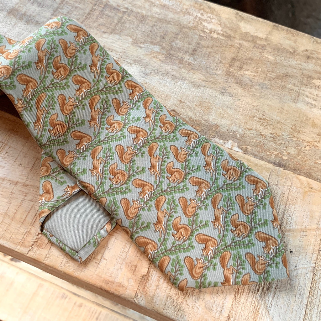 "Hermès ""Red Squirrels"" Print Green Silk Tie"