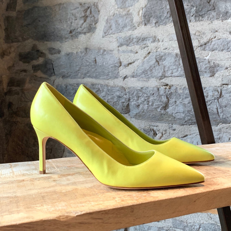 Manolo Blahnik BB Green Lime Leather Pumps