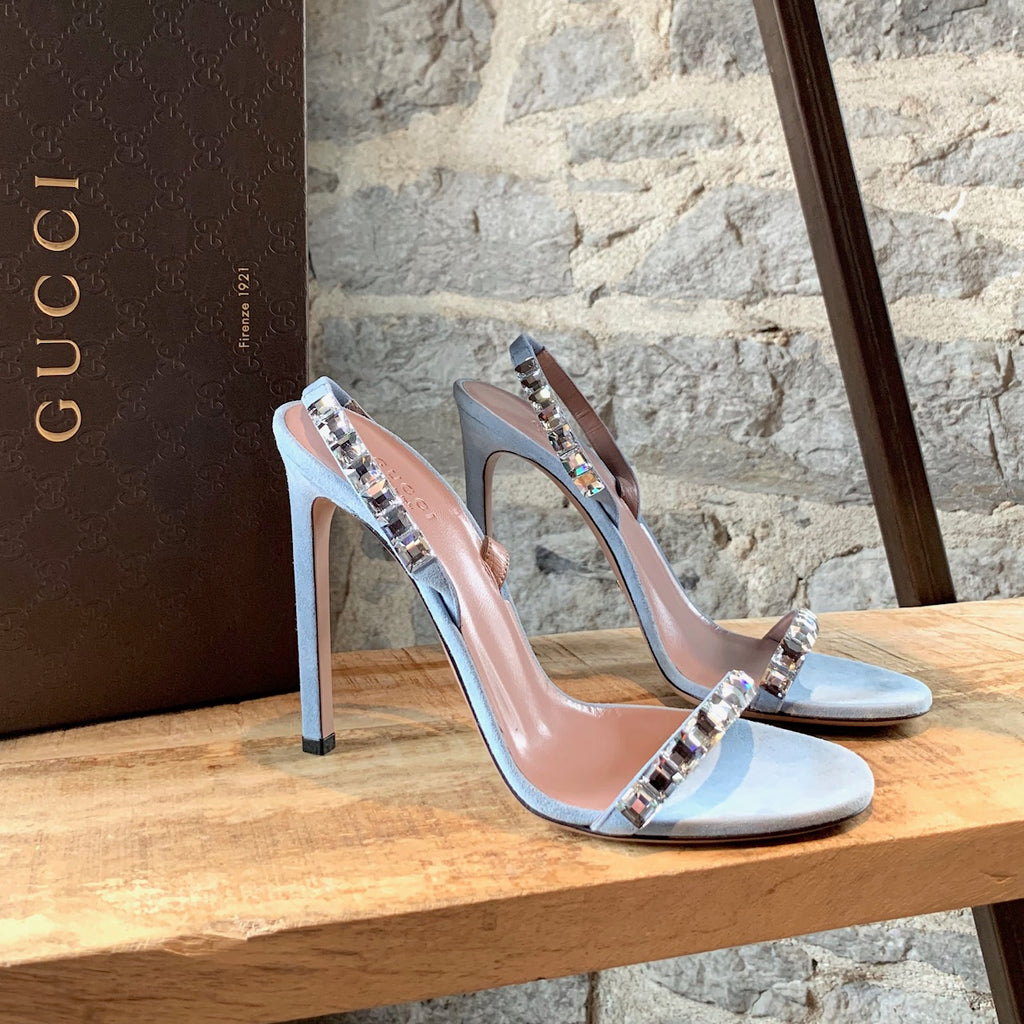 Gucci Baby Blue Mallory Crystal Heeled Sandals