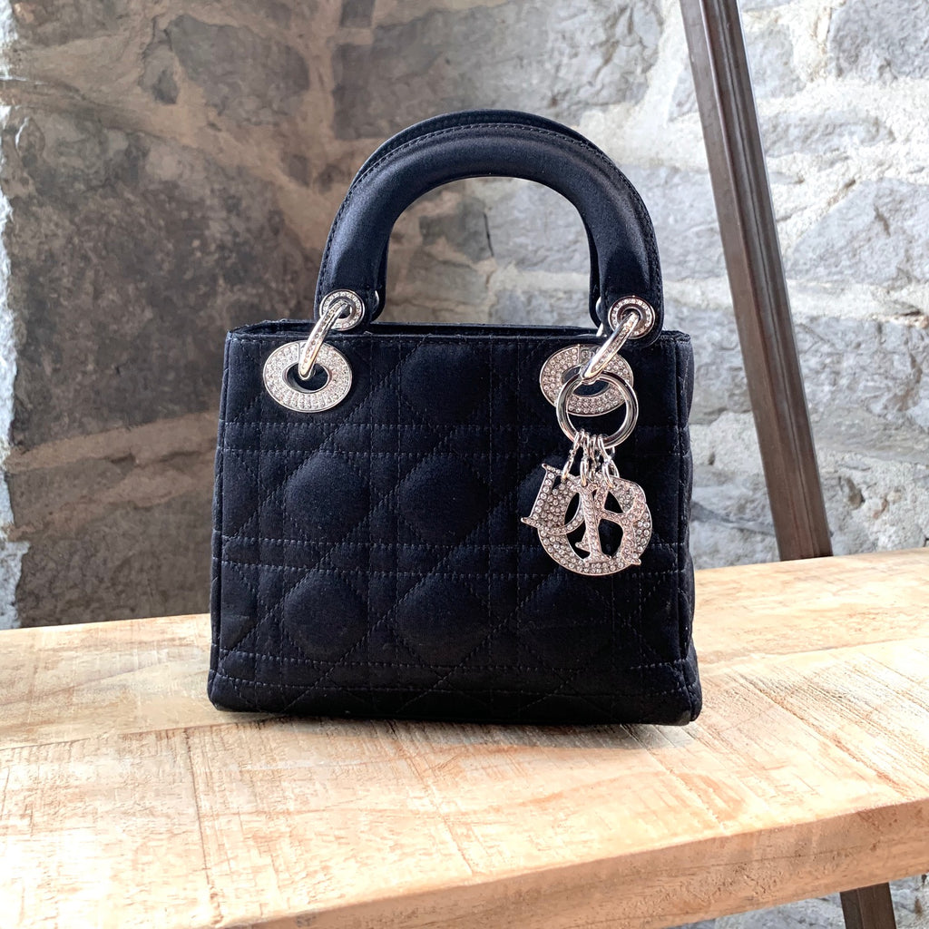 Christian Dior Black Satin Mini Lady Dior Cannage Rhinestone Bag