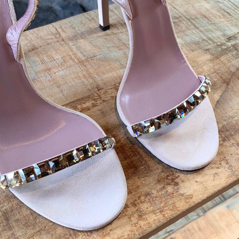 Gucci Light Pink Mallory Crystal Heeled Sandals