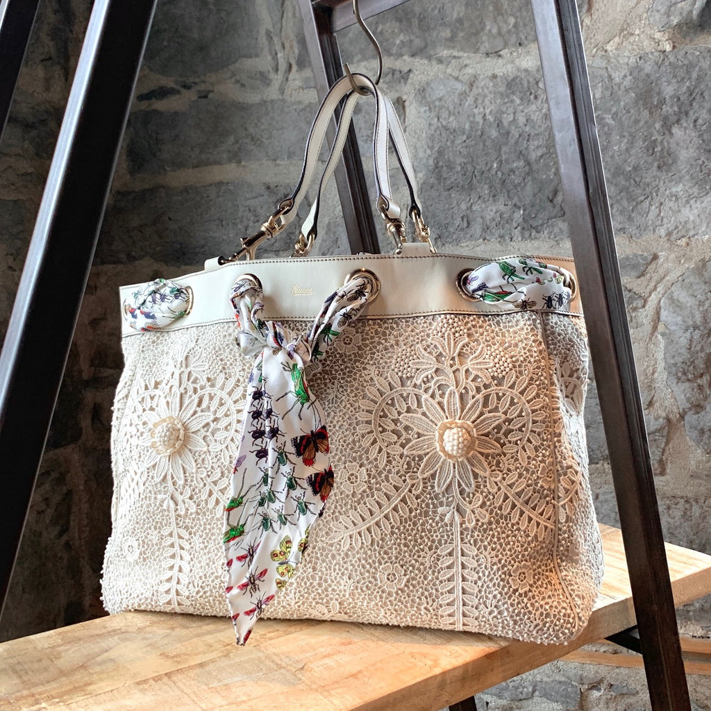 Gucci Ivory Lace Positano Silk Scarf Detail Tote Bag