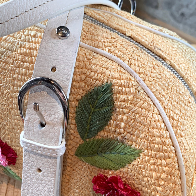 Christian Dior Beige Straw Flower Embroidered Bowler Bag