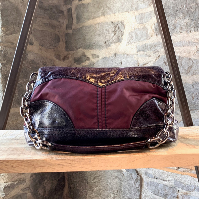 Prada Burgundy Vitello Leather And Nylon Chain Bag