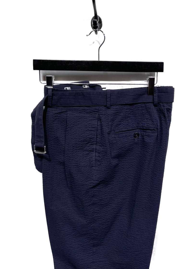 Officine Générale Navy Seersucker Cuffed Belted Trousers