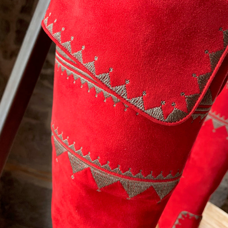 Hermès Red Suede Embroidered Knee-high Heeled Boots