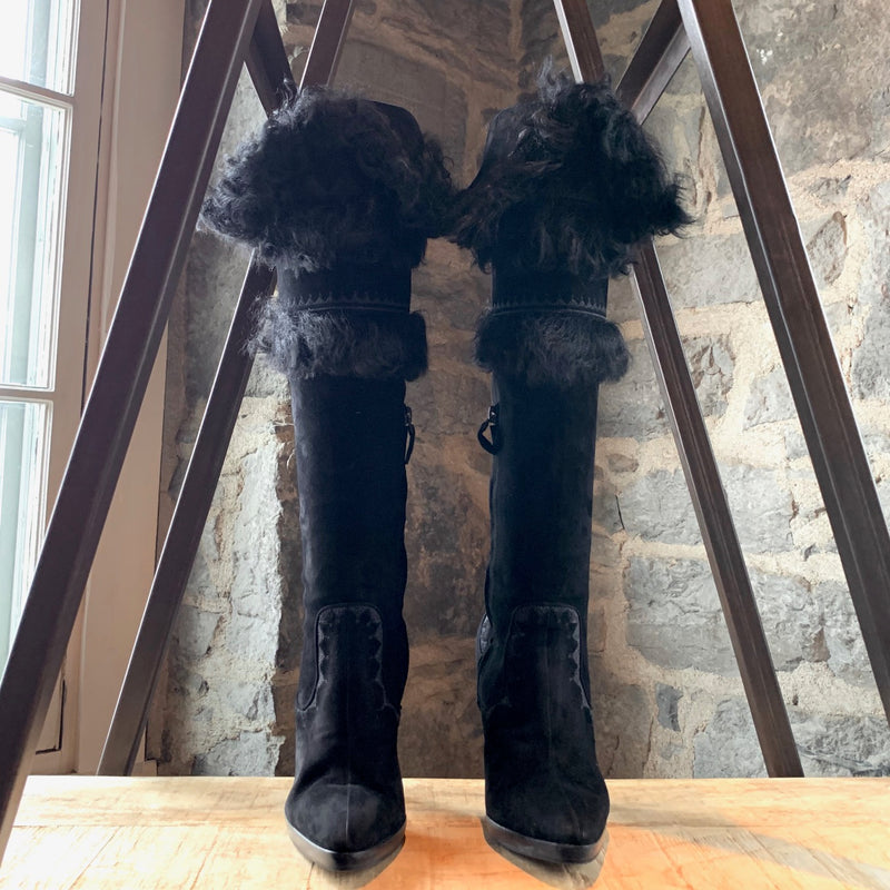 Hermès Black Shearling Heeled High Boots