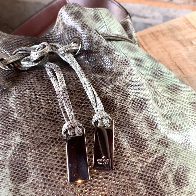 Gucci Karung Brown and Green Python Shoulder Bag