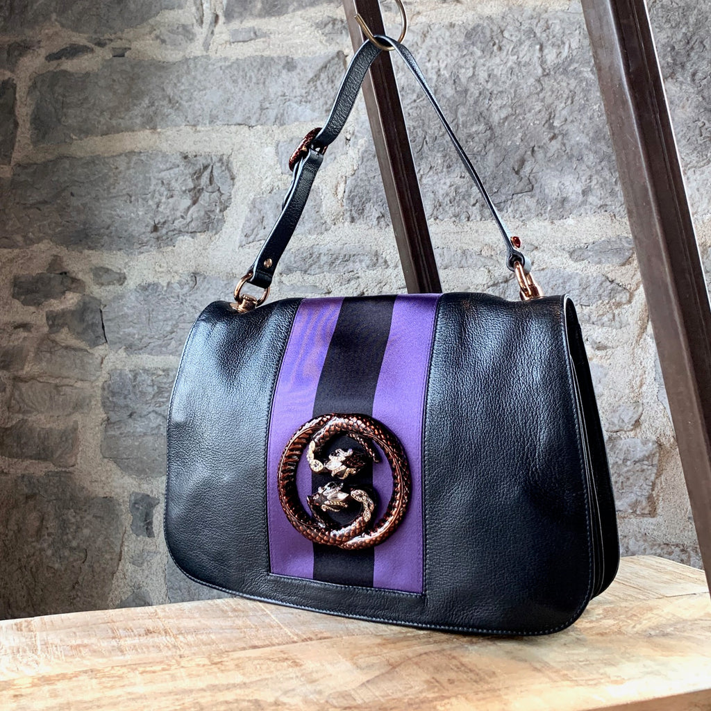Gucci Tom Ford Black GG Snake Purple Stripe Shoulder Bag