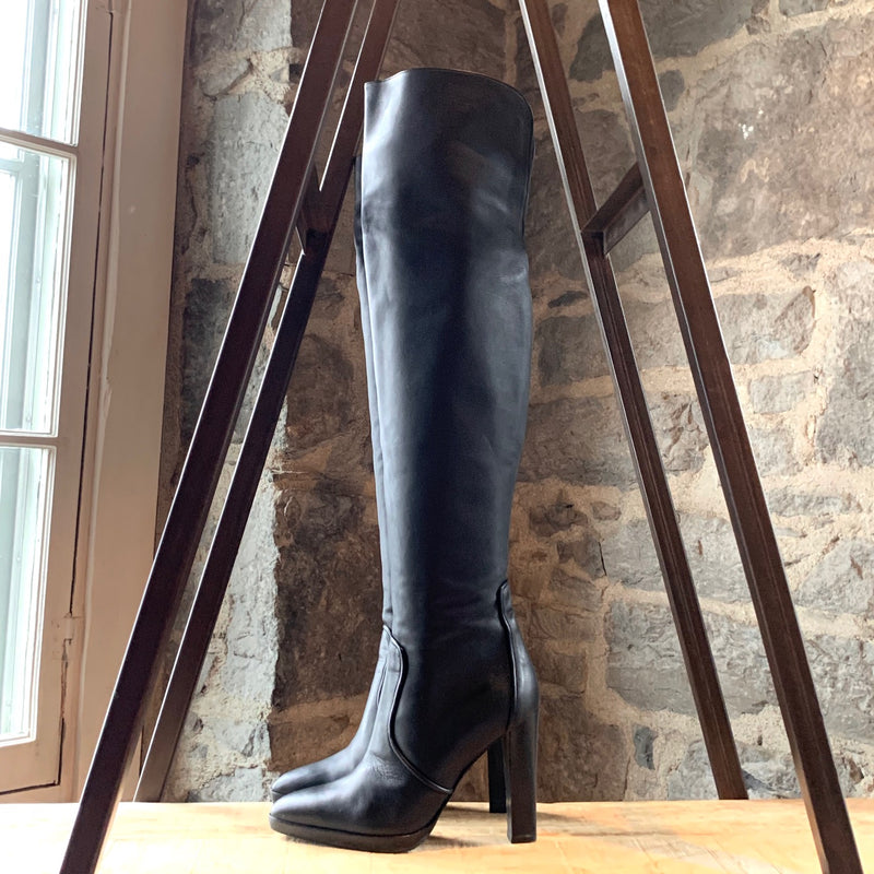 Hermès Black Leather Knee-high Heeled Boots
