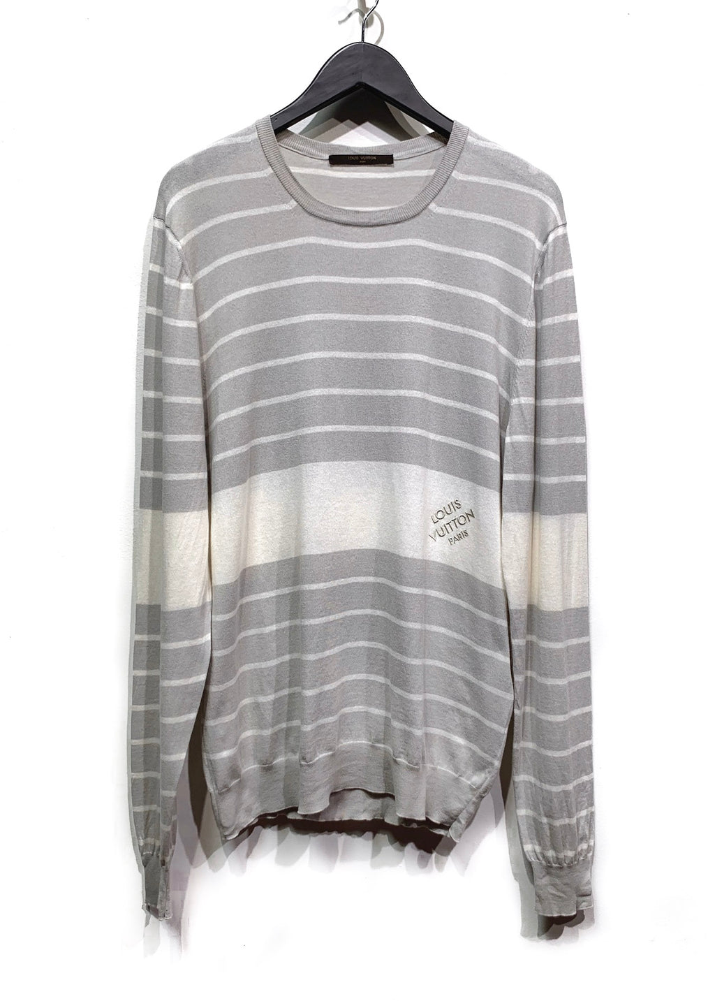 Louis Vuitton Light Grey Striped Embroidered Logo Sweater