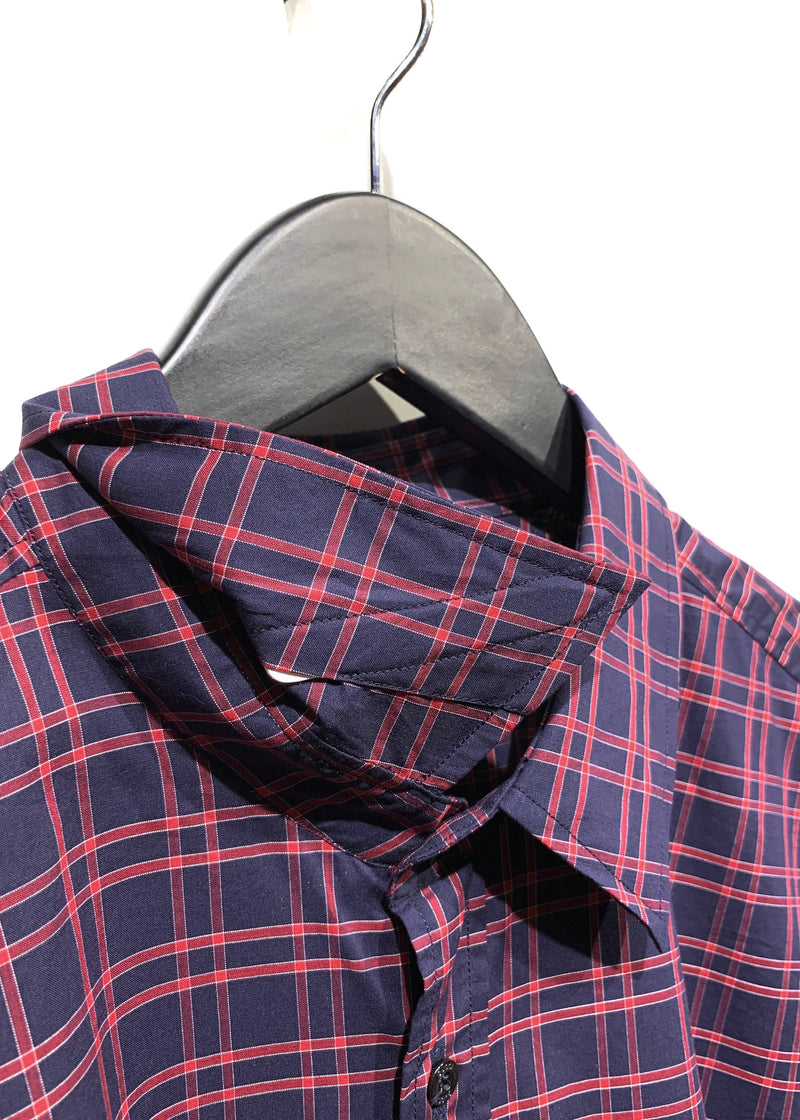 Gucci Navy Red Checkered Classic Dress Shirt