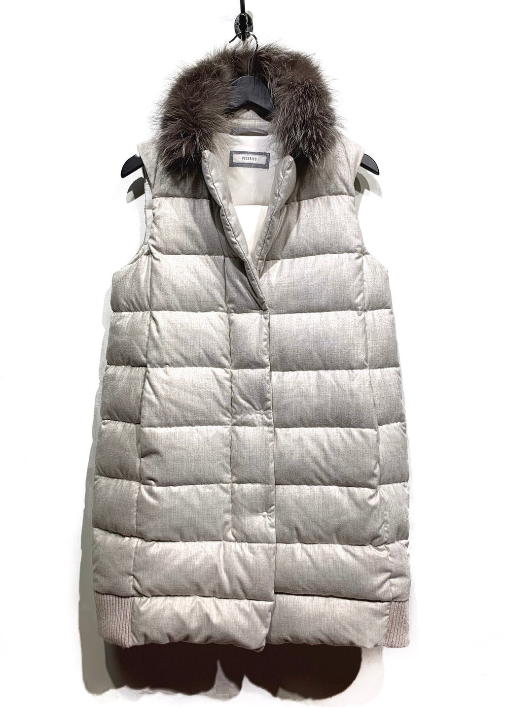 Peserico Light Beige Fur Hooded Long Down Filled Vest