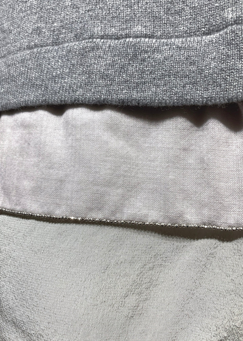 Peserico Tricot Grey Silk Layered Wool Blend Sweater