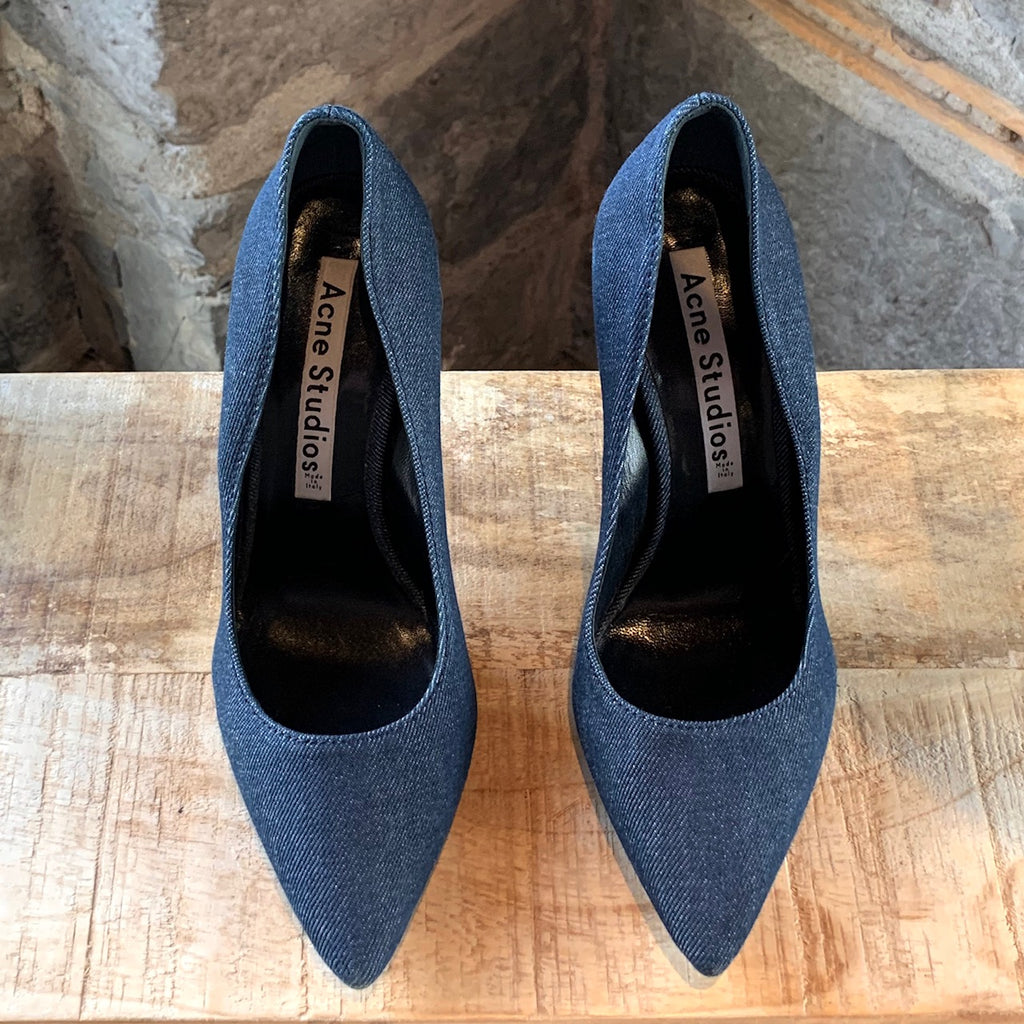 Acne Studios Navy Denim Alivia Pointy Pumps
