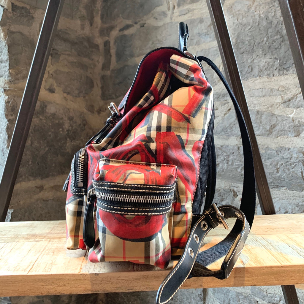 Burberry Rucksack Graffiti Print Vintage Check Backpack