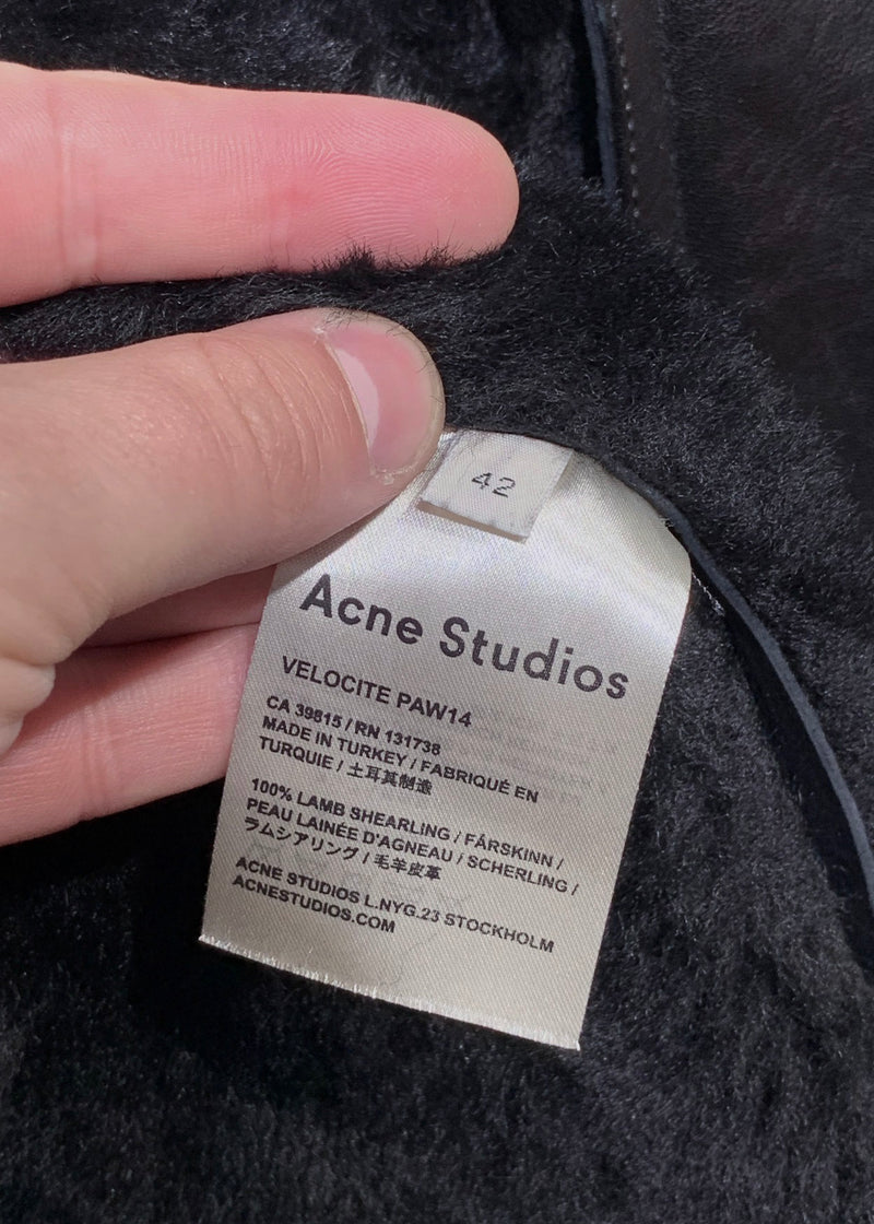 Acne Studios Black Velocite Aviator Shearling Jacket