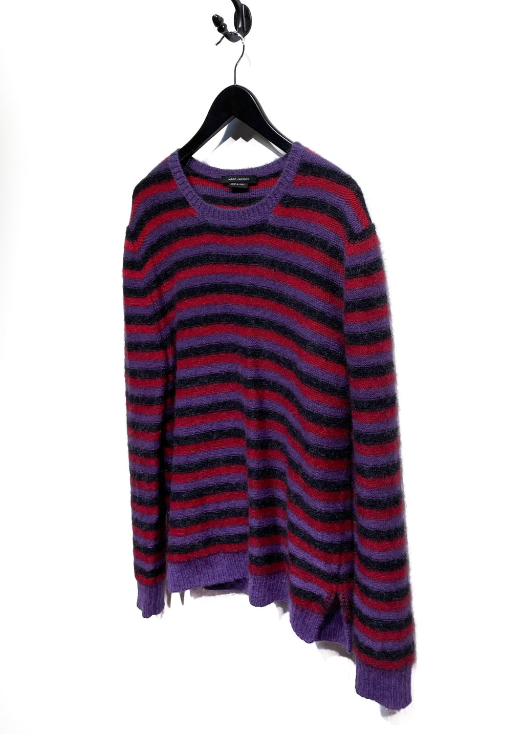 Marc Jacobs Purple Red Black Striped Mohair Blend Sweater