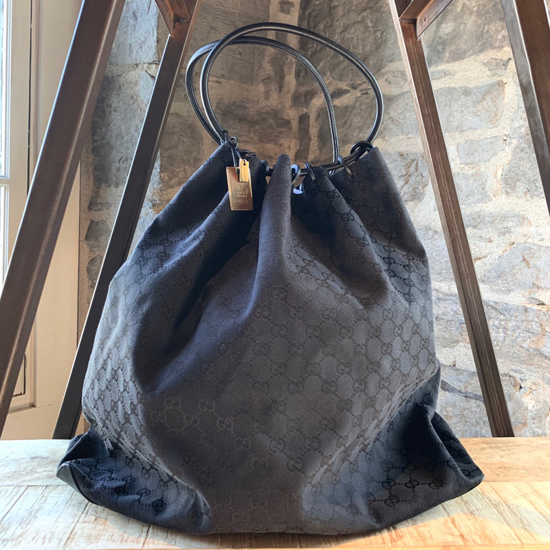 Gucci Vintage Large Canvas GG Guccissima Hobo Shopping Bag