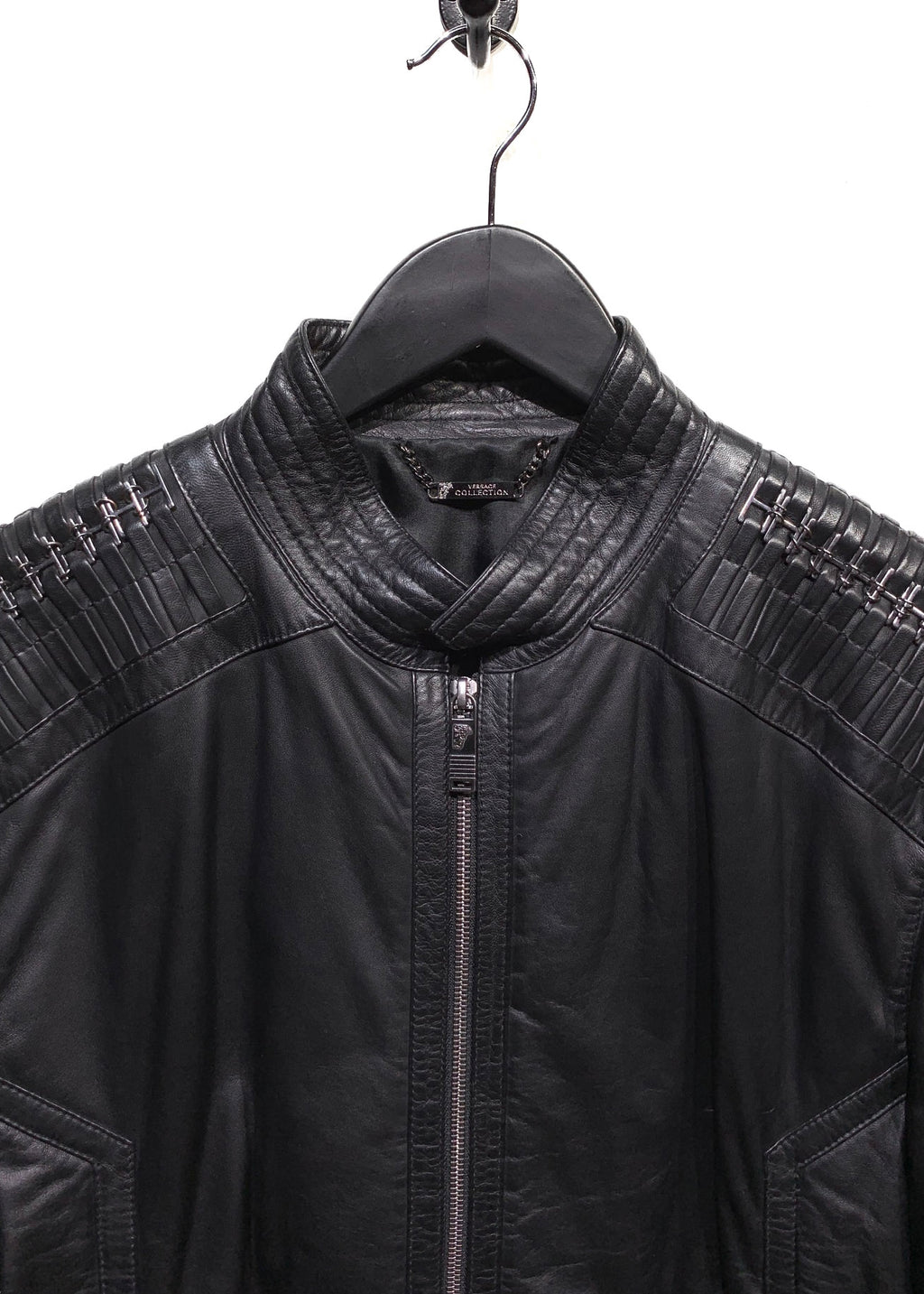 Veste de moto en cuir noir Versace Collection