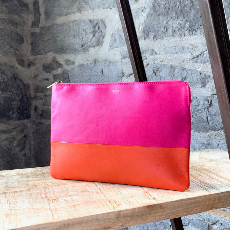 Céline Pink and Orange Colorblock Pochette