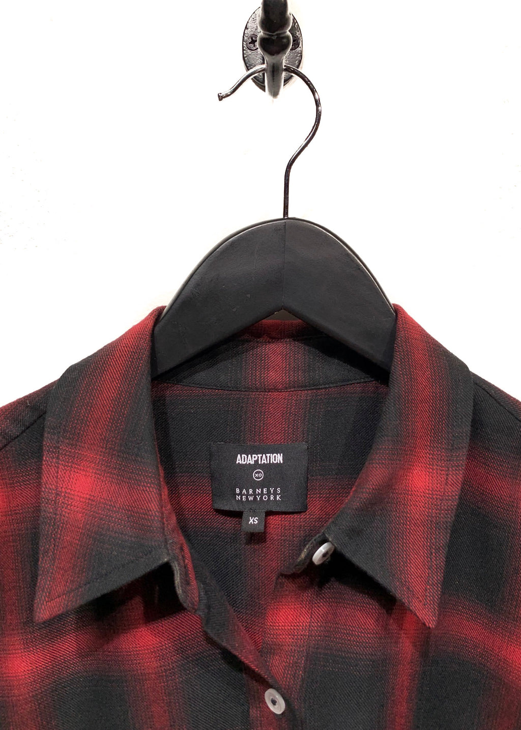 Adaptation Flower Embroidered Black Red Flannel Plaid Button Shirt