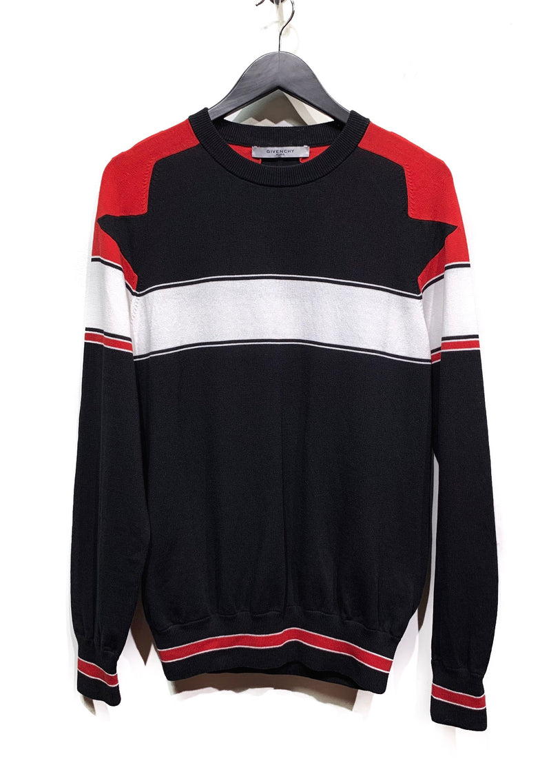 Givenchy Black Sweater with White and Red Stripes