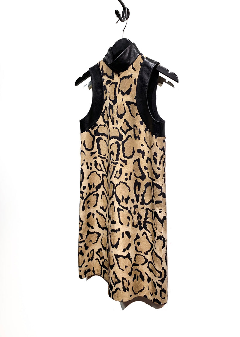 Gucci Leopard Print Leather Accent Sleeveless Silk Dress