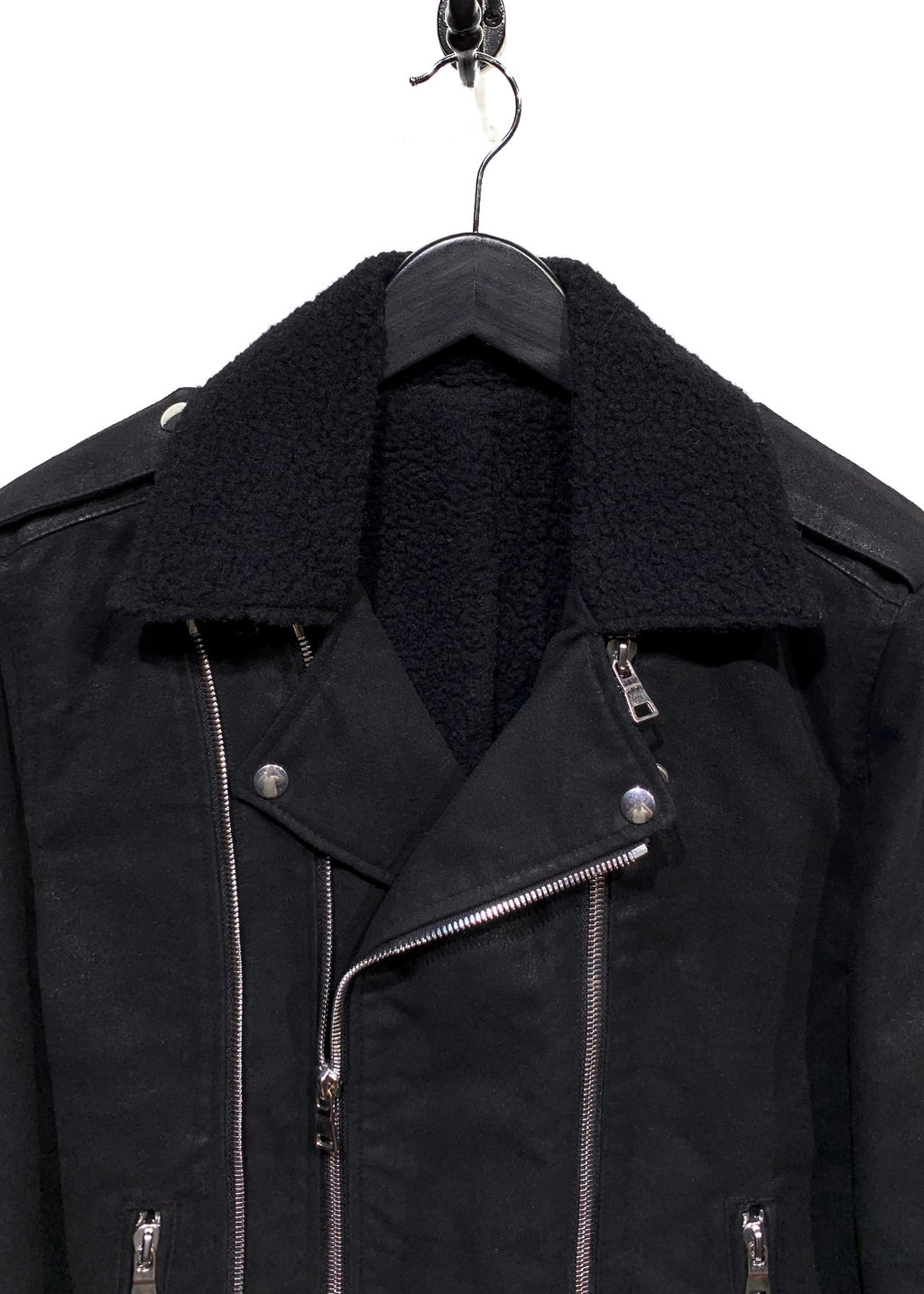 Balmain Black Waxed Cotton and Wool Lined Biker Jacket