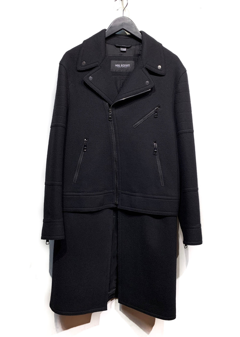 Neil Barrett Black Wool Blend Convertible Coat