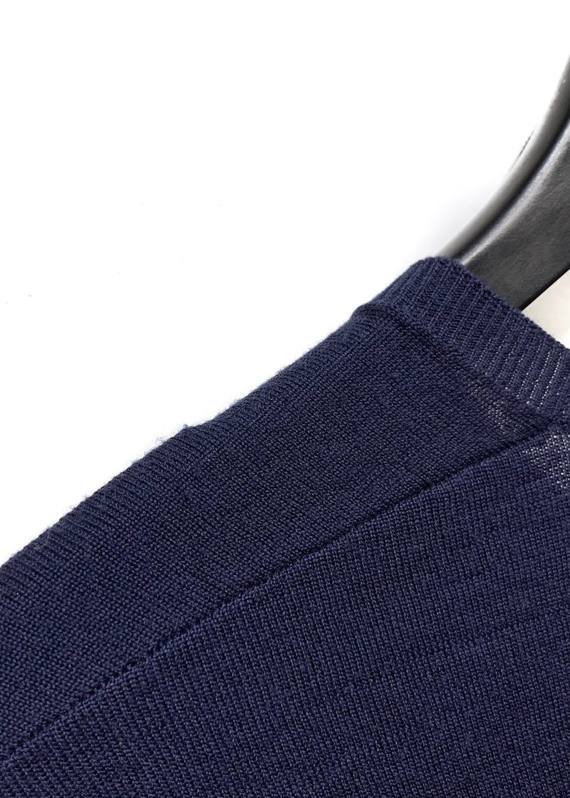 Neil Barrett Navy Wool Crewneck Sweater with Gathered Sleeves