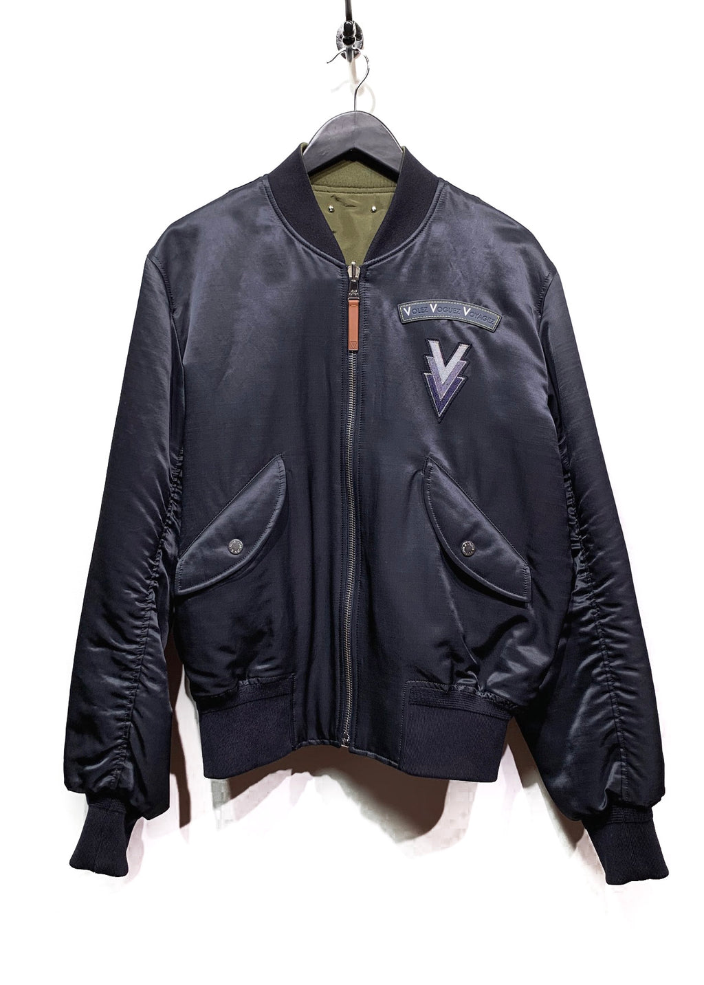 Louis Vuitton Navy Satin MB-1 ''Volez Voguez Voyagez'' Reversible Bomber Jacket