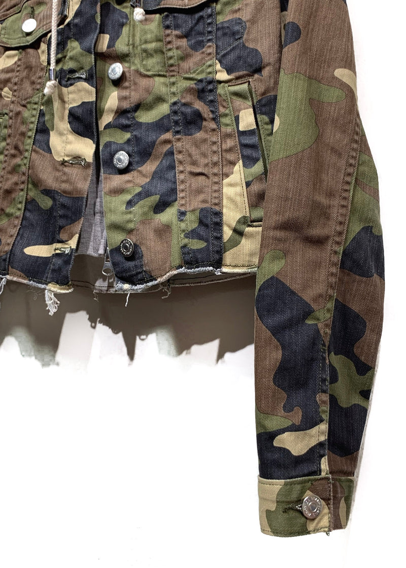 Veronica Beard Cara Camo Denim Jacket With Faux Hoodie