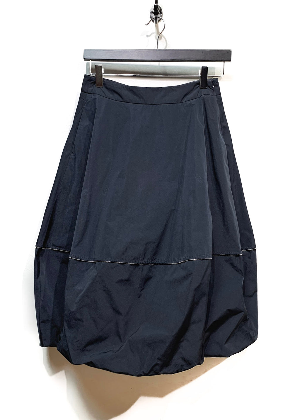 Peserico Navy Balloon Skirt With Silver Zipper Detail