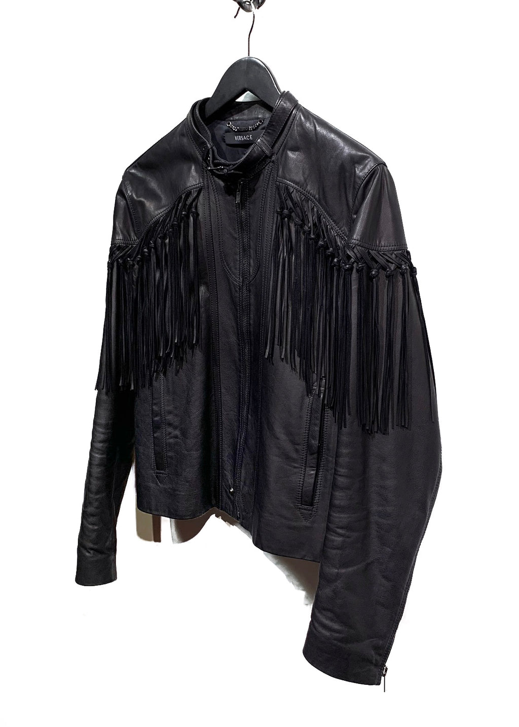 Versace Black Leather Fringed Moto Jacket