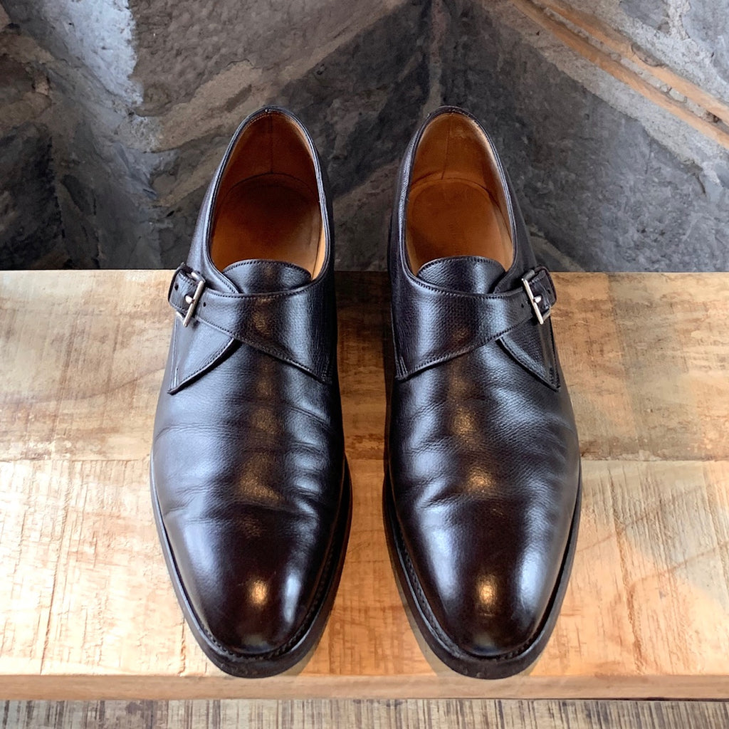 John Lobb Brown Leather Ashill Monk Strap Shoes