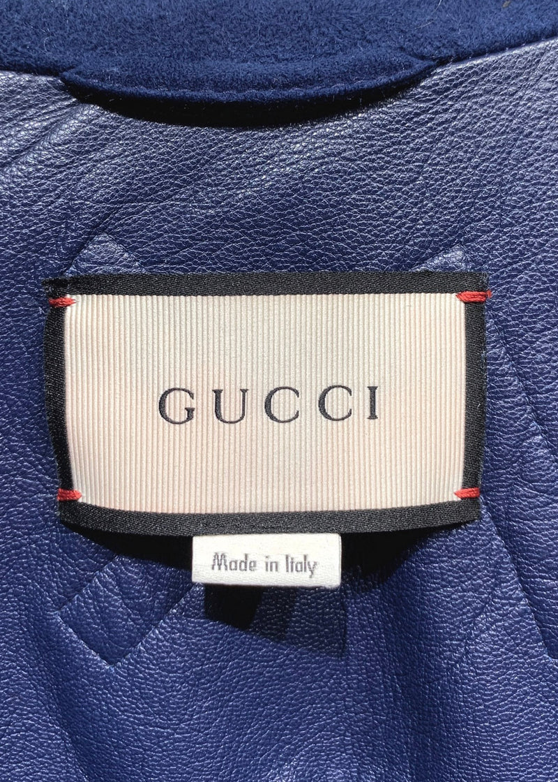 Gucci SS17 Runway Angry Cat Appliqué Navy Suede Officer Jacket