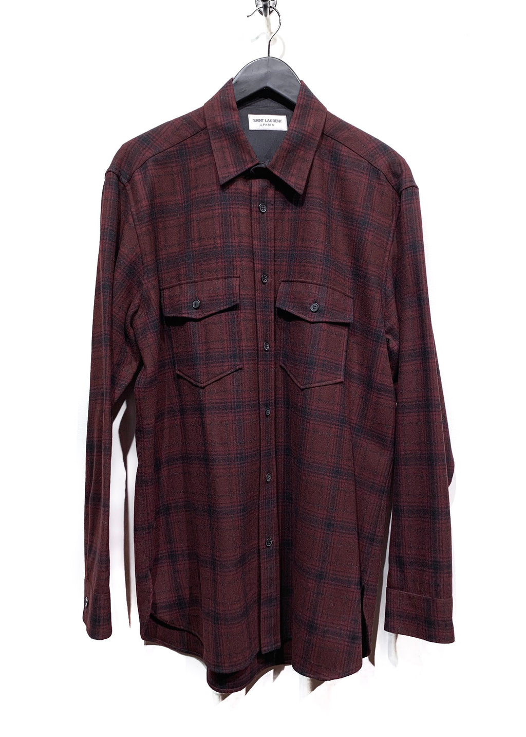 Saint Laurent Burgundy Wool Checked Shirt