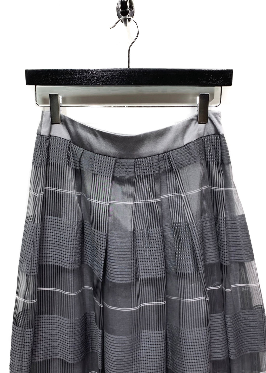 Peserico Grey Plaid Organza Wool Silk Maxi Pleated Skirt