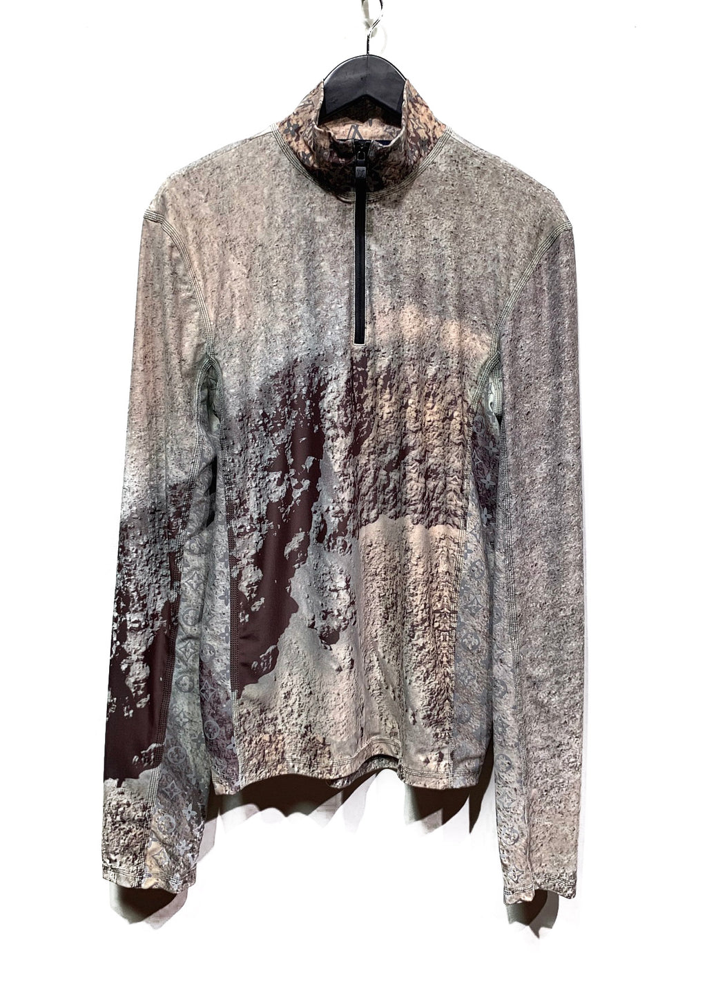 Louis Vuitton FW18 Reflective RashGuard Moon Print Half-zip Sweater