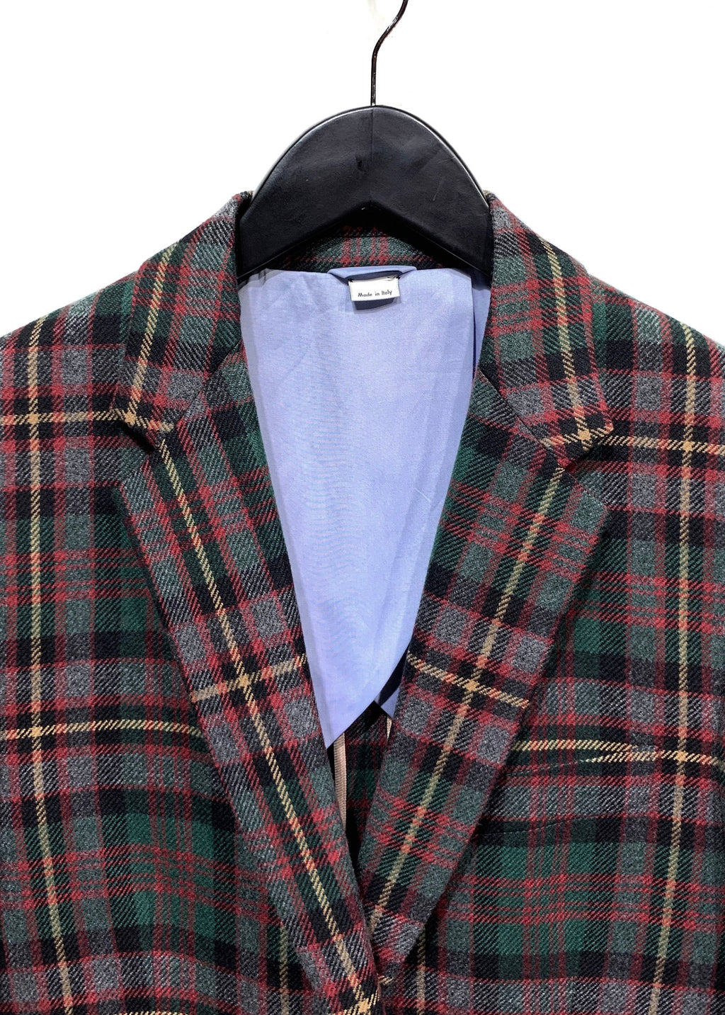 Gucci FW17 Green Red Grey Plaid Cashmere Blazer