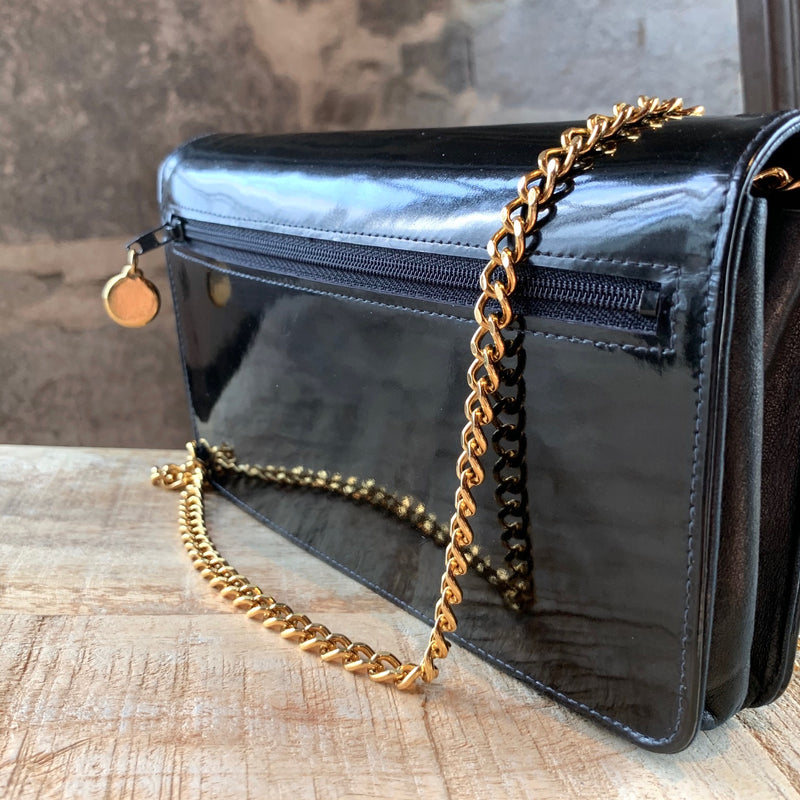 Chanel Vintage Circa 1998-1999 Black Patent CC Wallet On Chain