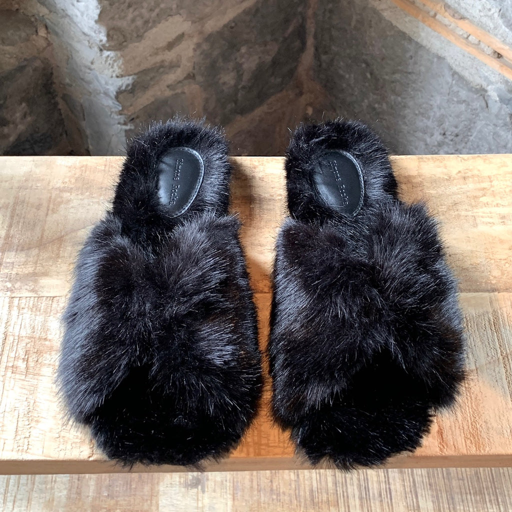 Simone Rocha Black Faux Fur Slides Sandals