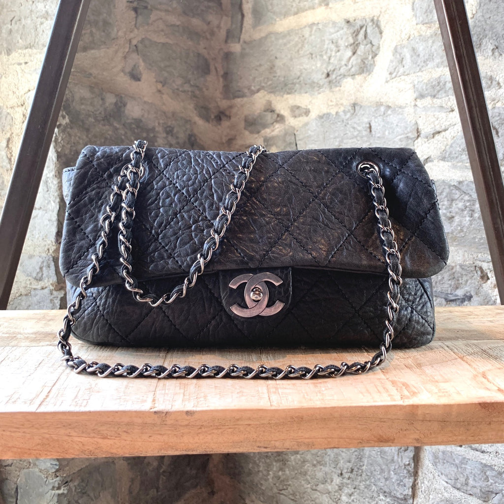 Chanel Le Marais Elephant Grey Quilted Chain Shoulder Bag